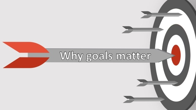 Image of several arrows pointing to a target that reads, why goals matter